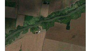 Imagen satelital. En la zona del río Carcarañá realizan tareas de altimetría.