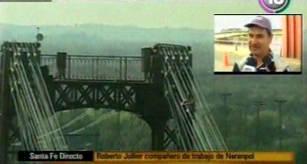 Un empleado de Naranpol se quiso arrojar desde el puente colgante de Santa Fe