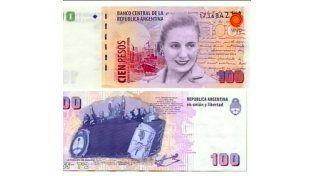 El billete de 100 pesos convivirá con el que tiene la cara de Julio Roca.