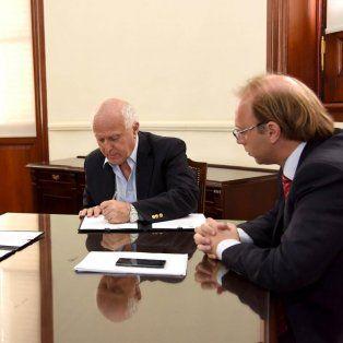 El gobernador Lifschitz y el ministro de Economía, Gonzalo Saglione.