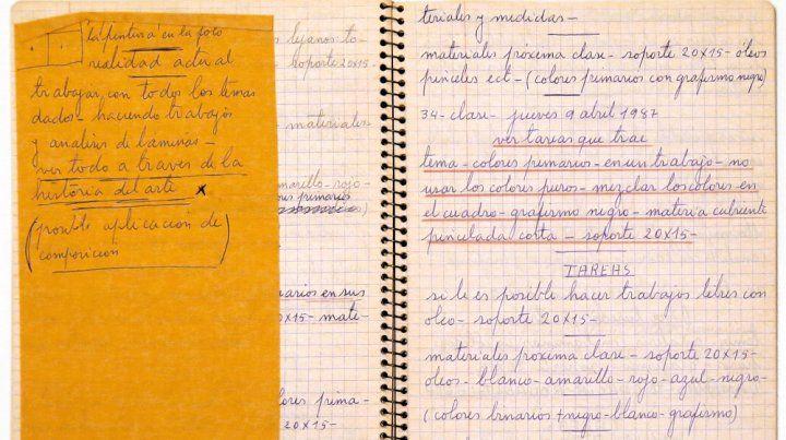 En el taller. Fragmento de un cuaderno de ejercicios de alumnos del taller de Juan Grela.