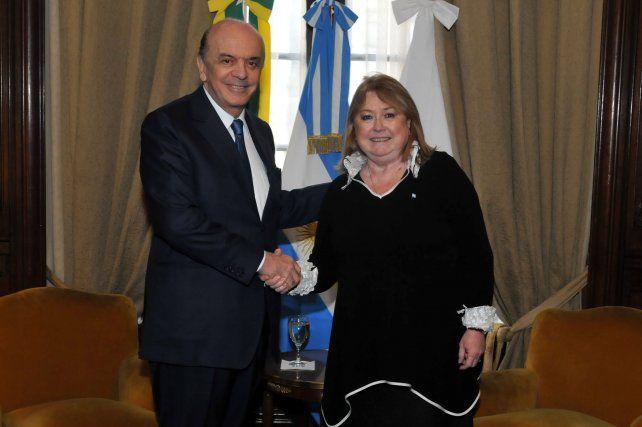 Visita. Susana Malcorra recibió ayer a su nuevo par de Brasil