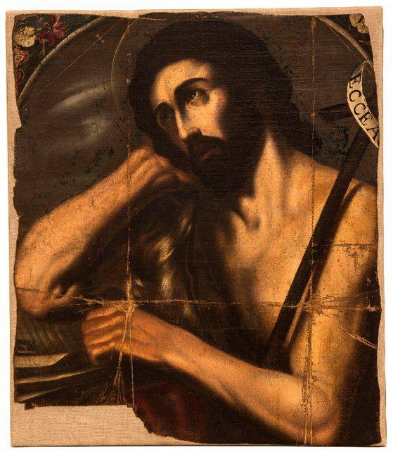 Esta obra fue fragmentada y enmarcada en torno al rostro. Su soporte era un cartón que escondía secretos.