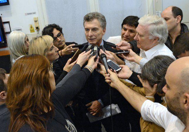 Sala de periodistas. Macri hizo el anuncio durante una improvisada conferencia de prensa en la Casa Rosada.