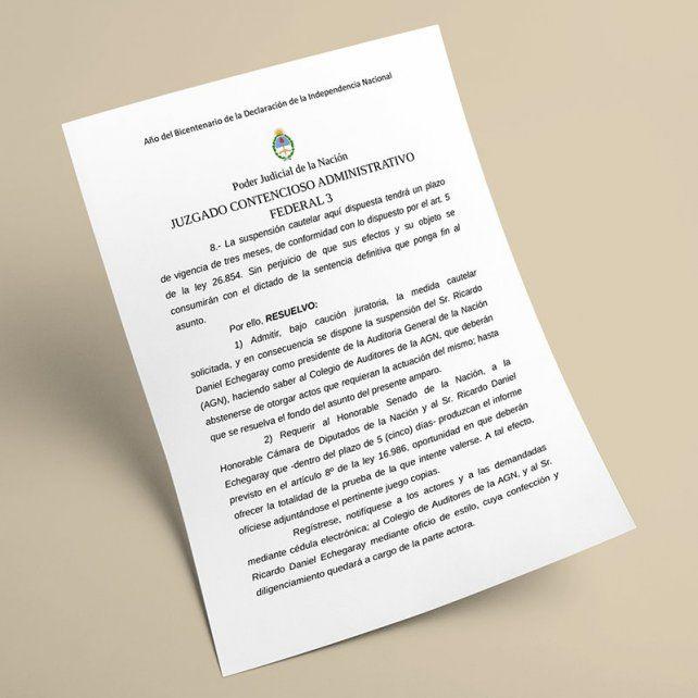 Una jueza federal ordenó suspender a Echegaray como Auditor General de la Nación