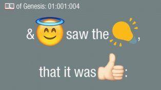 El texto de la Biblia en emoticones se encuentra en Twitter como @BibleEmoji.