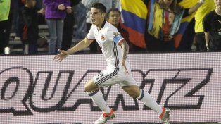 Decisivo. James Rodríguez festeja el segundo tanto cafetero.