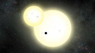 Sugestivo. El astro (el punto negro en el medio) podría albergar vida.