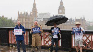 Ser o no ser. Un grupo de unionistas sostiene pancartas a favor de una Gran Bretaña fuerte en Europa.