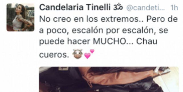 La captura del tuit de Cande Tinelli