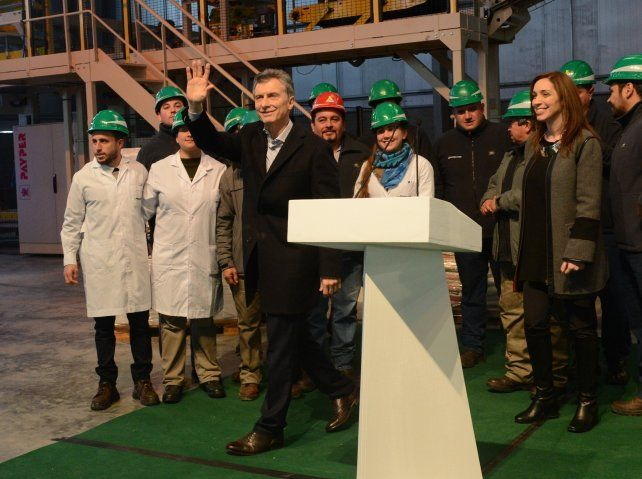 La foto. El presidente Macri inauguró en Pergamino una planta de fertilizantes que se comenzó a construir en 2014.