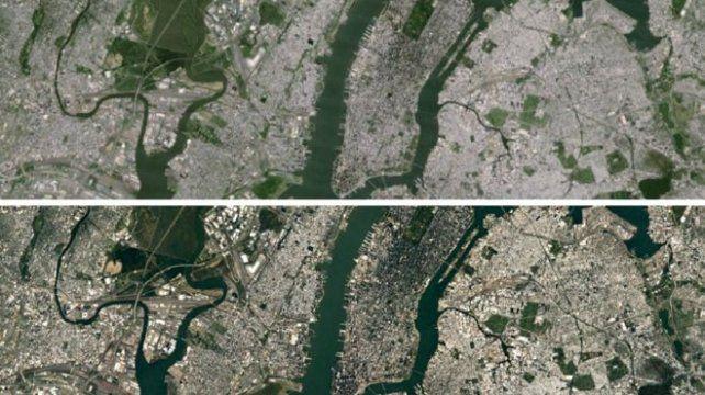 qué diferencia. La imagen anterior (arriba) y la actual del Landsat 8.