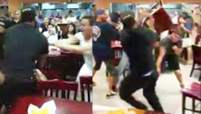 Terrible pelea en un restaurante mexicano