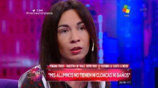 Yohana Fucks en Intratable. Describió el trabajo de los docentes en las zonas más vulnerables en Entre Ríos.