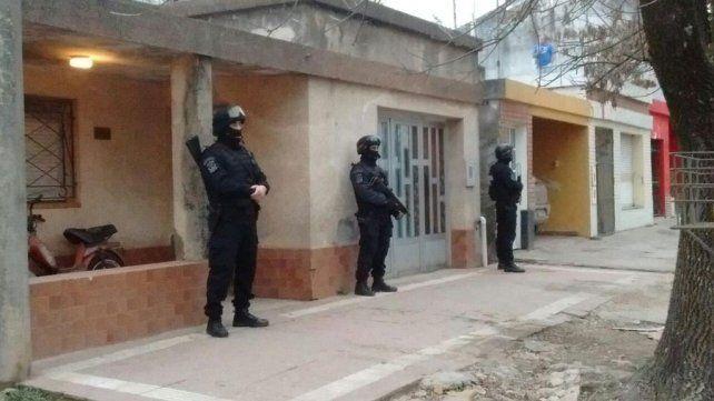 Uno de los domicilios allanados en Cañada de Gómez esta mañana.