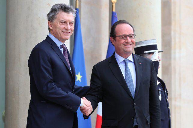 Macri y Hollande esta mañana. Estudiaron un acuerdo comercial entre Mercosur y la Unión Europea.