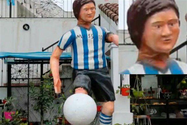 Polémica en las redes sociales por la curiosa estatua de Lionel Messi que emplazaron en Tucumán
