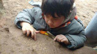 El niño encontró los restos fósiles mientras jugaba en la playa. (Foto: gentileza La Capital de Mar del Plata).