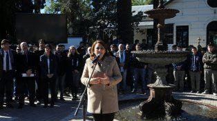 La intendenta Mónica Fein durante la presentación del proyecto del Nuevo Parque Independencia.