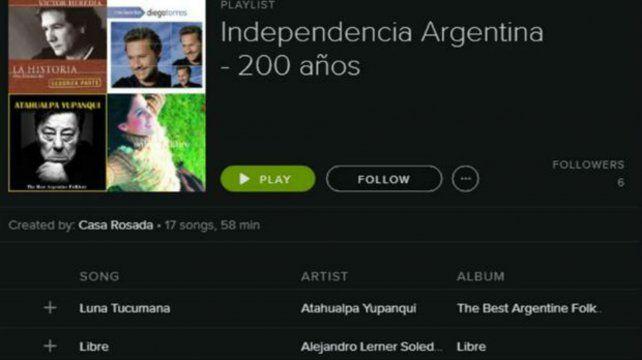 Captura de pantalla de la lista de temas en Spotify por los 200 años de la Independencia Argentina