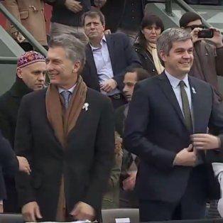 Macri encabeza el acto junto al jefe de gabinete Marcos Peña.