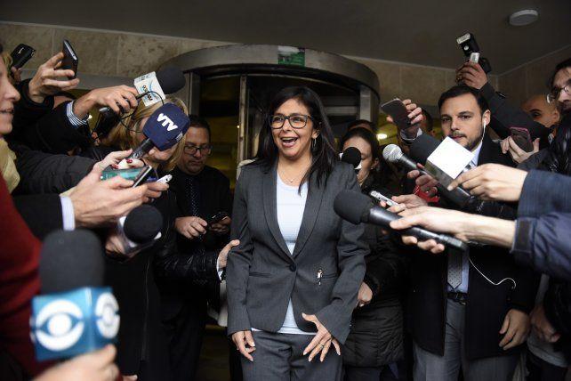 Al choque. Delcy Rodríguez denunció a sus colegas de Brasil y Paraguay por negarse a reunirse con ella.
