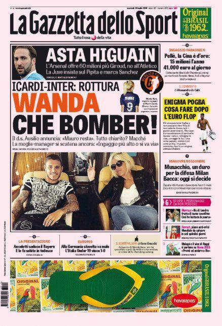 Wanda metió mano en la carrera de Icardi y terminó en la tapa de un diario italiano