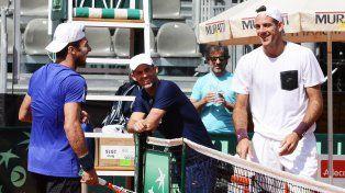 Sonrientes. Mónaco y Del Potro jugaron en serio en la última práctica