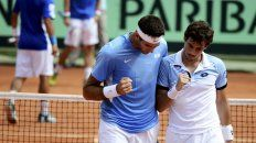 ¡Vamos! Eso parecen decir Juan Martín Del Potro y Guido Pella en el choque de dobles, en el que se impusieron a los italianos Fognini y Lorenzi.