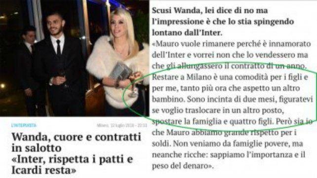 El diario donde salieron publicados los dichos de Wanda.