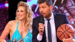 Alina Moine le ganó a Marcelo Tinelli en la competencia de básquet.