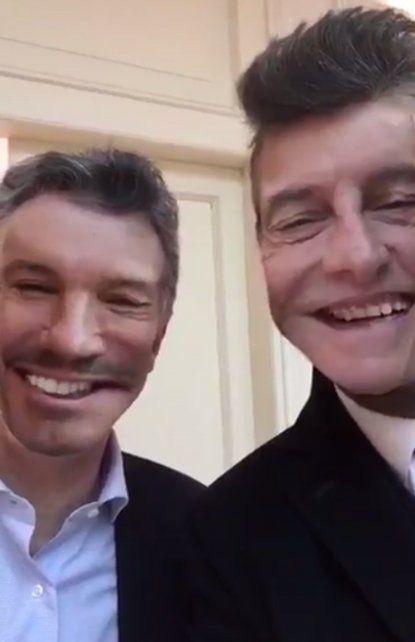 Macri y Tinelli se animaron a jugar con Snapchat al finalizar la reunión en Olivos.