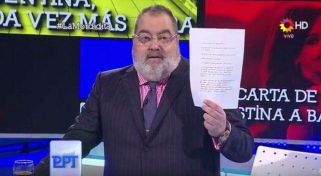 Lanata reveló la carta que Cristina le escribió a Lázaro Báez y ganó el ráting del domingo
