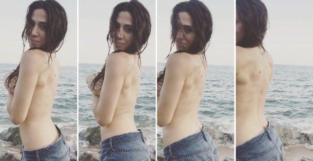 Jimena Barón, recién llegada a Europa, se animó a su primera producción en topless