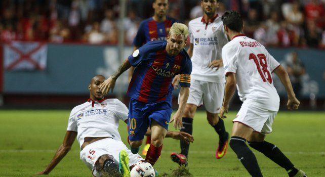 Messi durante el partido que le ganó al Sevilla.