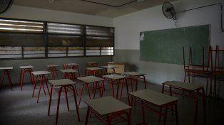 aulas vacías. La medida de fuerza tiene por objetivo que el gobierno provincial reabra la discusión paritaria del sector docente.
