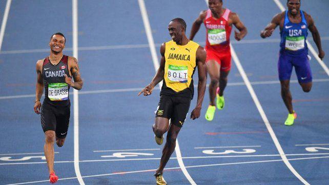¿De qué hablaron Usain Bolt y su pupilo Andre De Grasse cuando llegaban a la meta?