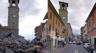 ayer y hoy. Así era y así quedó Amatrice, de más de 2.600 habitantes. Allí hacen los espaguetis a la amatriciana.