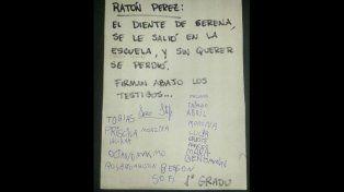 Una maestra juntó testigos para que el Ratón Pérez le crea a una nena que había perdido el diente