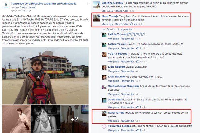 La chica desaparecida en Brasil publicó un mensaje en el Facebook del consulado argentino