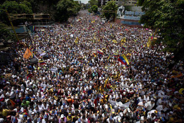 Una imagen de la movilziación de hoy en Caracas.