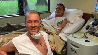 Lichu y Lelio tras la extracción de médula ósea. La operación se hará mañana