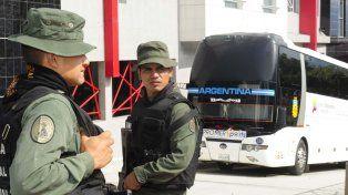 En el hotel de Mérida donde se hospeda la selección argentina se desplegó un importante operativo de seguridad.