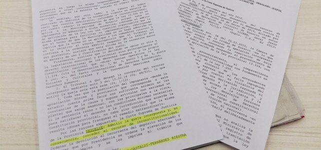La resolución de la Corte Suprema de Justicia de la provincia.