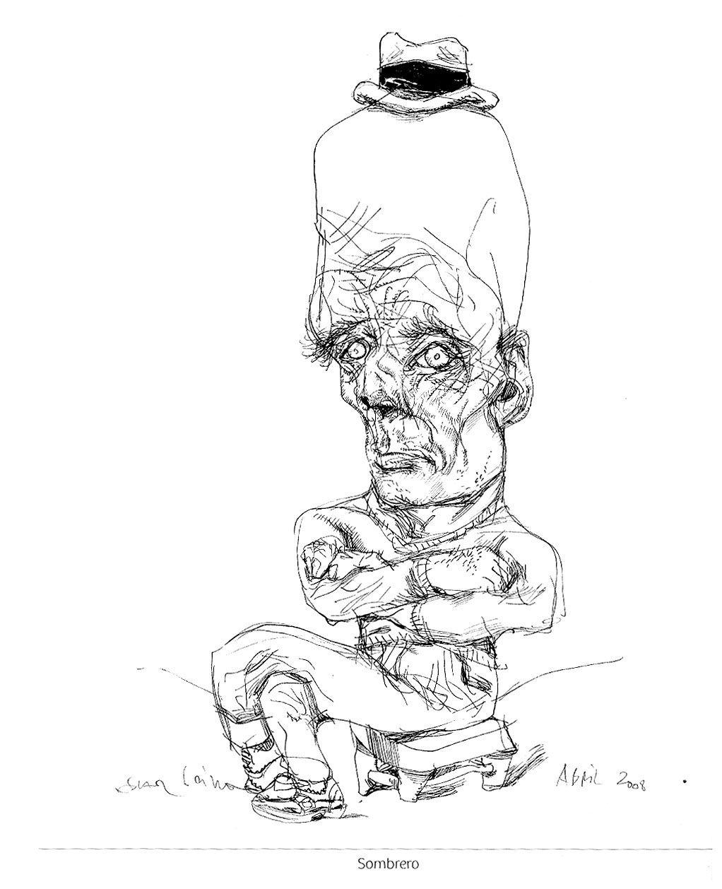 Oscar Grillo presenta sus dibujos.