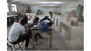 Práctica de los alumnos en el taller de la Técnica Ovidio Lagos