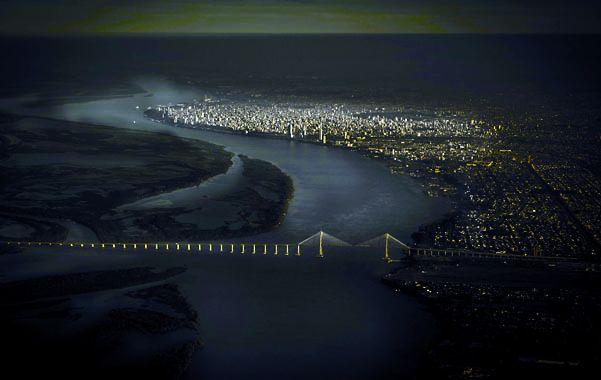 El puente Rosario Victoria desde una vista aérea.