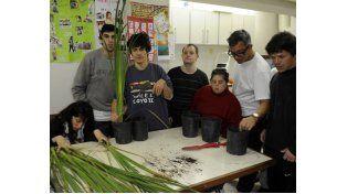 Los trabajos de jardinería en la huerta de la Fundación