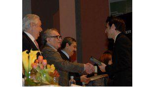 Con Gabo. Mascardi cuando recibió