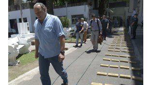 En Rosario. Berni el martes en la sede de la Policía Federal